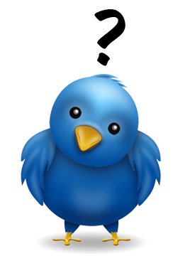 twitter bird with a question